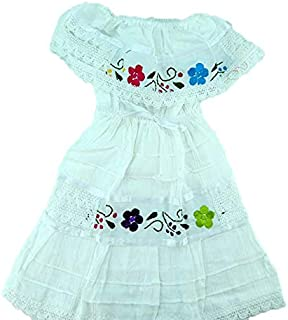 Mexican Baby Hand Made Coco Theme Party Dress,White,One Size