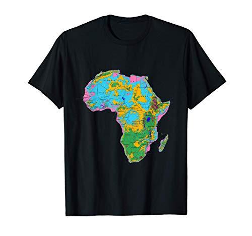 relieve mapa topográfico de África, nombres de países Camiseta