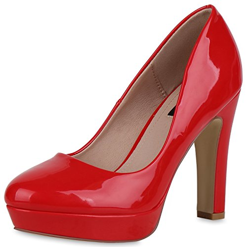 SCARPE VITA Damen Plateau Pumps Lack High Heels Stiletto Party Abendschuhe 162777 Rot Lack 38