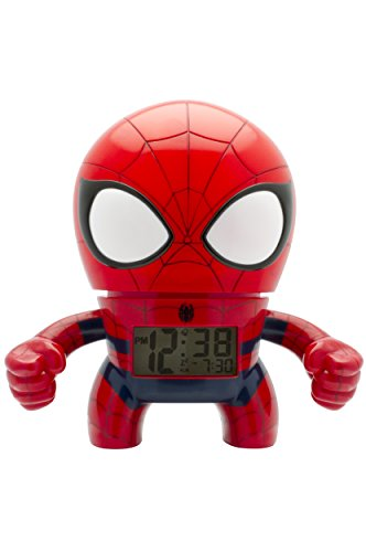 BulbBotz Marvel 2020039 Spiderman Kinder-Wecker mit Hintergrundbeleuchtung| rot/blau| Kunststoff| 19 cm hoch| LCD-Display| Junge/Mädchen| offiziell