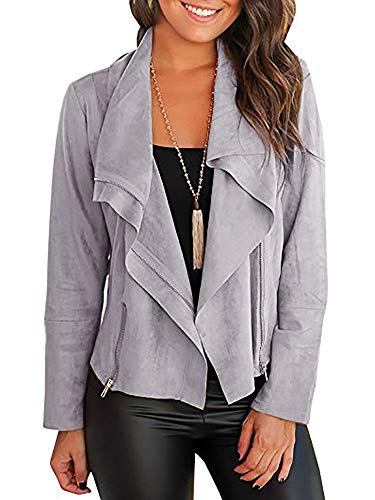 Mafulus Women Autumn Lightweight Jackets Faux Suede Zipper Solid Coat Tops Outwear (Small, Grey)