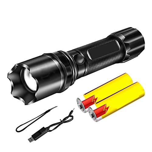 YYHJ Linterna Recargable, Linterna LED súper Brillante, Alto Brillo, Impermeable, antorcha portátil de 3 Modos de luz para campamentos y Caminatas de Emergencia