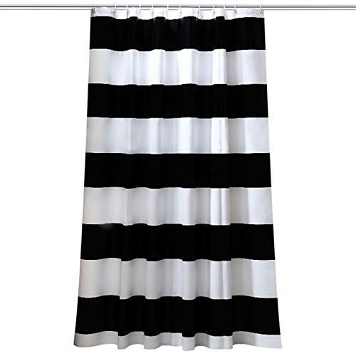 Beydodo 3D Lustiger Duschvorhang 300x200 Weiß Schwarz Streifen Duschvorhang Antischimmel