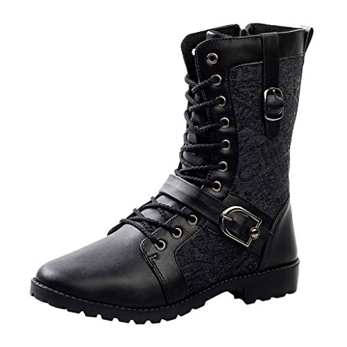 SSUPLYMY Biker Boots Herren Vintage Reißverschluss Hohe Stiefel Mode Drucken rutschfest Langschaftstiefel Niedriger Absatz Stiefel Bequem Baumwolle Weicher Boden Freizeitstiefel