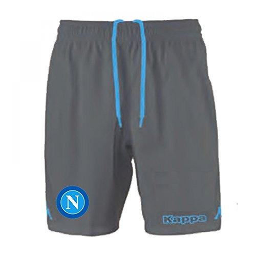 Napoli - Pantaloncini da calcio, divisa per partite in casa, Replica, 15/16 GREY DK XXXL