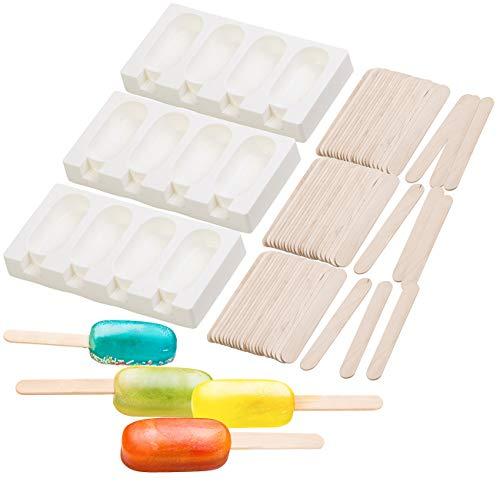 Rosenstein & Söhne Eis Silikonform: 3 Silikon-Formen für 12 Eis am Stiel, je 70 ml, mit 72 Holzstielen (Silikonformen Eis am Stiel)