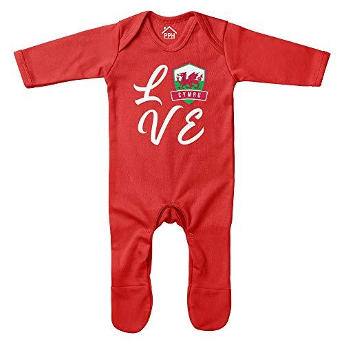 Purple Print House Baby Love Wales Strampler – Lustiges Baby Ankündigung Fußball Rugby Badge Wales Fan Geschenke für Baby – rotes Baby Cymru-Fan-Outfit Gr. 6-12 Monate, rot