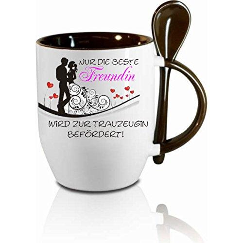 Creativ Deluxe Tasse m. Löffel Nur die Beste Freundin Wird zur Trauzeugin befördert Löffeltasse, Kaffeetasse mit Motiv,Bürotasse, Bedruckte Tasse mit Sprüchen oder Bildern - auch individuell