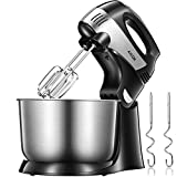 Hand Mixer Electric 2 in 1 Stand Mixer 6 Option (Precise 5 Speed + Turbo) with 3.7 Quarts Stainless Steel Bowl Include Beaters and Dough Hooks, Easy Install & Disassemble, AICOK