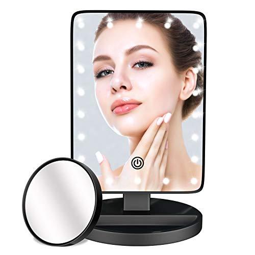 Specchio per Il Trucco con luminosita Regolabile con Touch Screen Con lente d'ingrandimento 10X, 22 LED Rotazione 180° Specchi da Tavolo Specchio con Luce LED Adatto per camera da letto, bagno
