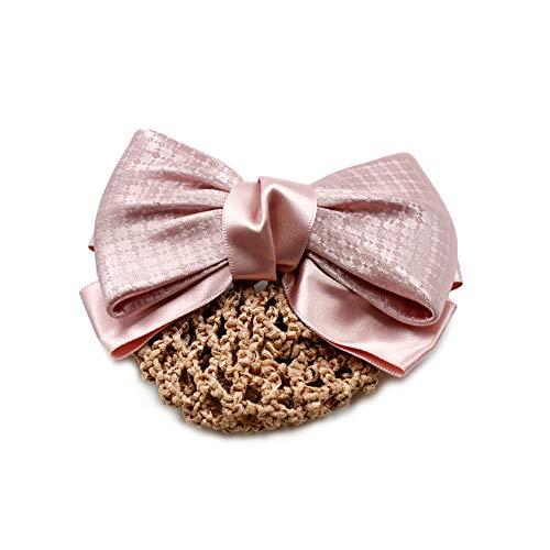 rougecaramel - Barrette cheveux noeud satin avec filet résille rose