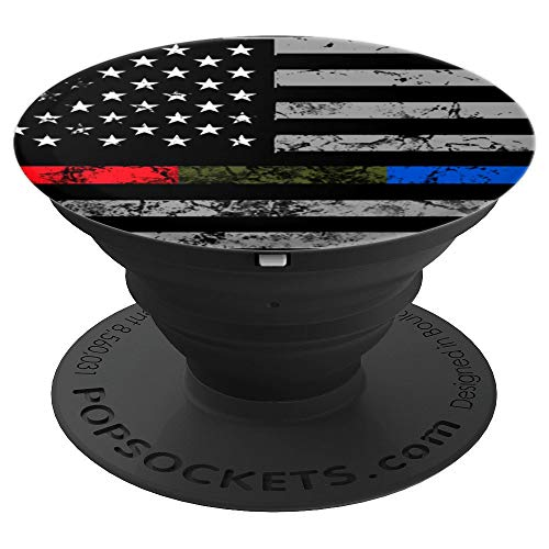 Thin Red Green Blue Line Pop Socket USA Flag Christmas Gift PopSockets Grip and Stand for Phones and Tablets