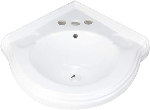 Corner Wall Mount Small Bathroom Sink White Ceramic Vitreous China Portsmouth Design No Bracket Included Amazon Com