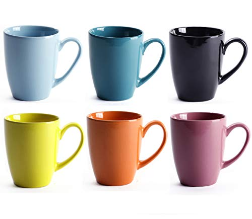 LEANDALE 12 OZ Ceramic Coffee Mug Tea Milk Cup Set of 6,Multi Solid Colour (Multi-6 pcs)