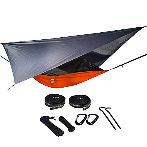 Oak Creek Camping Hammock and Accessories. Complete Package with Mosquito Bug Net, Rain Fly, Tree Straps. Great for Hiking, Backpacking, and Travel. Weighs Only 4 Pounds. Fire Orange and Gray.