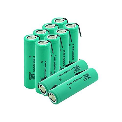 WSXYD 3.7v 20a Descarga 2500mah 18650-25r 18650 Batteris, BateríAs De Iones De Litio Protegidas Cargadas PTC con 2 PestañAs 10pieces