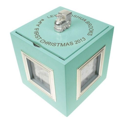 Laser Engraved My 1st Christmas Musical Photo Cube Blue Baby Boys 1st Xmas
