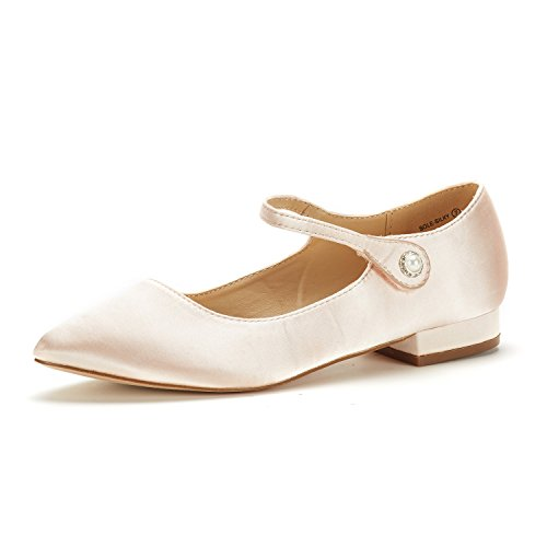 DREAM PAIRS Women's Sole_Silky Rose/Gold Fashion Low Stacked Ankle Straps Flats Shoes Size 8.5 M US