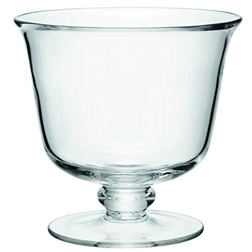 Solavia Transparent Large Glass Footed Entertain Dessert Bowl 20 x 20cm Una | Trifle Bowl, 3.5 L | Serve Bowl (Kitchen & Home)