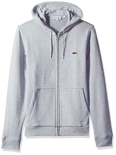 Lacoste Men's Long Sleeve French Terry Sweatshirt W/Hoodie Front Pockets, Silver Chine, Large