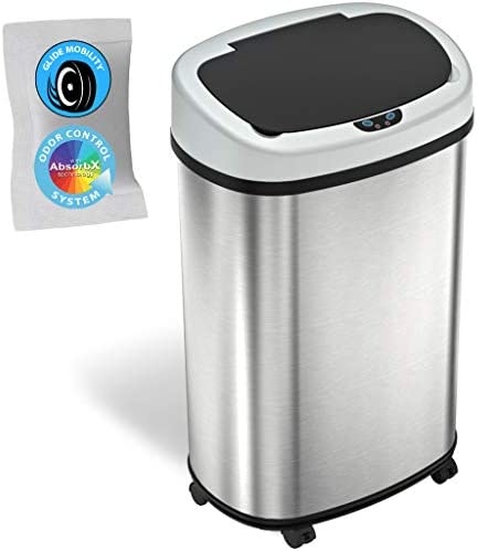 SensorCan 13 Gallon Sensor Trash Can with Wheels and AbsorbX Odor Control System Stainless Steel product image