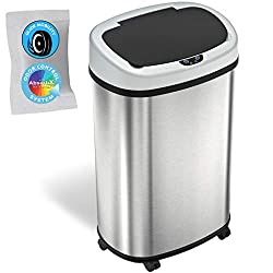 SensorCan OSC13SBM 13 Gallon Sensor Trash Can with Wheels and Odor Control System, Stainless Steel, Black