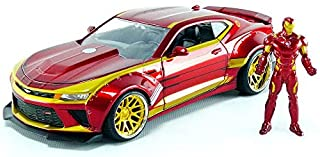 Jada Toys Marvel Iron Man & 2016 Chevy Camaro Die-cast Car, 1:24 Scale Vehicle & 2.75