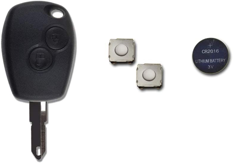1neiSmartech Caparazón + Hoja + Batería + Botones Para Mando Llave 2Teclas Dacia Logan Duster Sandero Express