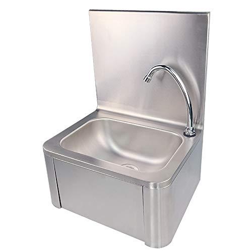 TAIMIKO Handwaschbecken Gastro Seifenspender Edelstahl Waschbecken mit Kniebetätigung 304 Edelstahl (40 x 32 x 57 cm)