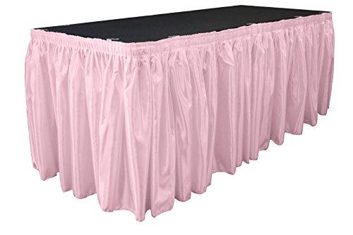 LA Linen Falda de Mesa de Raso para Novia de 14 pies por 29 Pulgadas de Largo con 10 Clips en L, Color Rosa Claro