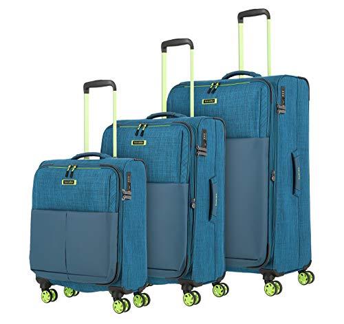 travelite 4-Rad Koffer Set Größen L/M/S mit TSA Schloss, Handgepäck erfüllt IATA-Bordgepäck Maß, Gepäck Serie PROOF: Weichgepäck Trolley in frischen...