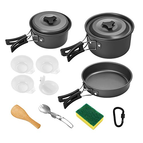 Gonex Camping Cookware Set Mess Kit, Backpacking Gear Cooking Equipment, Stackable Portable Non...