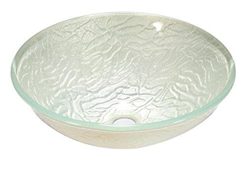 FEN Pure en verre trempé blanc volant rond Design moderne Art Stage Pot Lavabo T12 * ? 420 * H145 mm