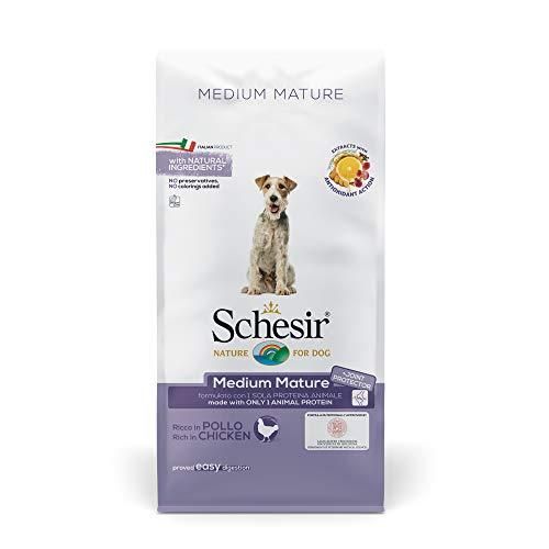 Schesir Dog Medium Mature Huhn, Hundefutter trocken für mittelgroßerRassen, Beutel, 12 kg