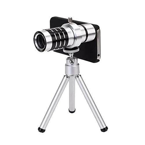 DERTHWER Monocular Telescope, Aluminum Alloy 12x Mini HD Mobile Phone Telescope for Phone Lens Photographic Silver Get The Best Close-up Nature Experience (Color : Silver, Size : Telescope+Tripod)