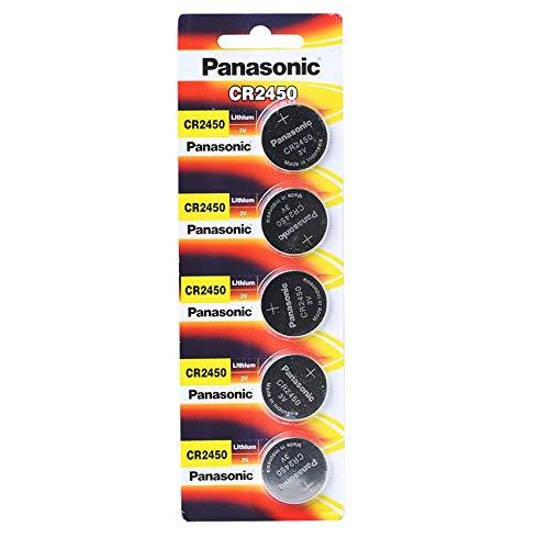 5x CR2450 Knopfzelle 3V Batterie, 620mAh, Panasonic - im Blister