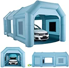 Orion Motor Tech 23x13x11 ft. Portable Inflatable Paint Booth, Blow Up Spray Booth, Large Inflatable 2 Room Car Tent, Portable Garage Car Port w Air Filtration System and 2 Electric Air Blower Pumps