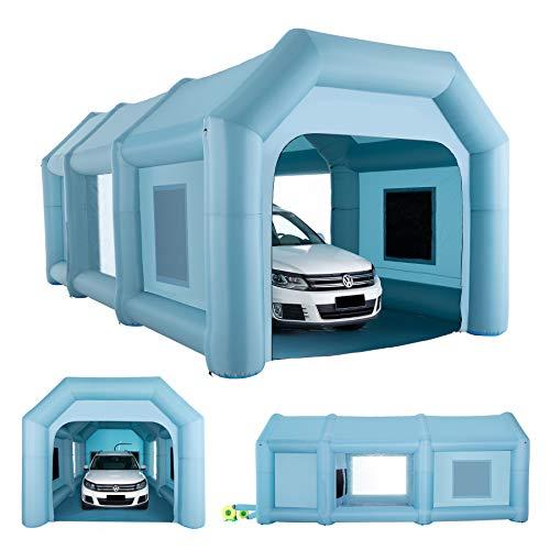 Orion Motor Tech 8x4x3,3m Aufblasbare Sprühkabine Zelt Aufblasbare Lackierkabine Zelt Spritzkabine Großes Autozelt Partyzelt Campingzelt Luftzelt mit 2 elektrische Gebläse (8x4x3,3m)