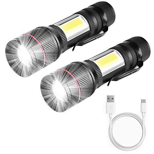 Gloosmk Linterna LED recargable (2 unidades), linterna magnética USB, lámpara de trabajo COB con zoom, extremadamente clara, resistente al agua, linterna táctica para exterior, camping y emergencias