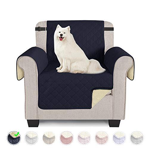 Sofabezüge wasserdichte Sofa Überwürfe mit elastischen Riemen Anti-Rutsch-Schaum für das Wohnzimmer Schutz für Hunde Vor Haustieren, Verschütten, Abnutzung und Riss schützen (Dunkelblau, 1 Sitzer)