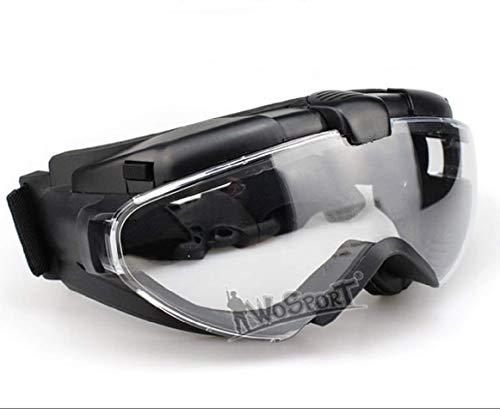 Gafas tácticas antivaho para casco, equitación, ciclismo, paintball, resistencia UV, lentes de PC, lentes para airsoft, paintball, caza, BK