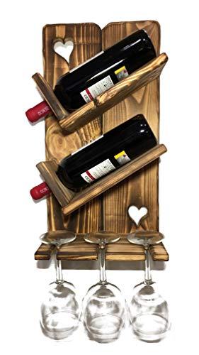 Botellero de Madera para Vino - Pequeño y de Montaje Sencillo, para Pared - Decoración para Colección de Vinos, Vinoteca, Cava