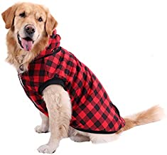 PAWZ Road Dog Plaid Shirt Coat Hoodie Pet Winter Clothes Warm and Soft for Medium and Large Dogs,Upgrade Version Red 4XL