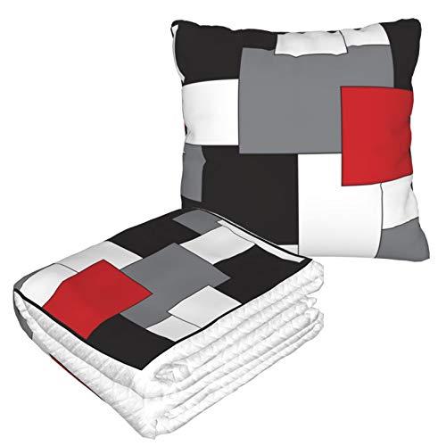 Manta de almohada de terciopelo suave 2 en 1 con bolsa suave bloque rojo negro gris blanco color almohada para el hogar avión coche viaje películas