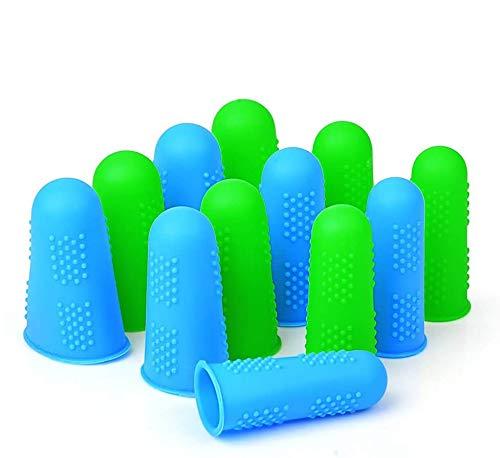 Hydream 12Pcs Protecteurs de Doigts en Silicone Anti-adhésif Doigt Caps Couvertures pour Colle Chaude, Miel, Adhésifs, Couture, Cire, Colophane, Résine, Scrapbooking en 3 Tailles (Vert Bleu 2)