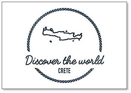 Kreta Kaart Omtrek. Vintage Discover the World Rubber Stamp Koelkast Magneet