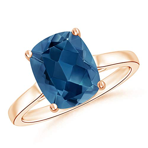 Holiday Gift For Women - Classic Cushion London Blue Topaz Solitaire Ring in 9K Rose Gold (10x8mm London Blue Topaz)