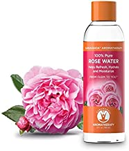 GuruNanda 100% Pure and Natural Rose Water - Rosewater Hydrosol - Helps Refresh, Hydrate, and Moisturize. Beautiful Fresh Fragrance - Perfect Facial Glossier & Skin Toner & Moisturizer