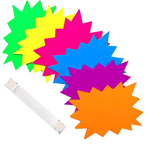 ONEETIS 60 PCS Starburst Signs Fluorescent Neon Signs Blank Star Shape Retail Sale Tags Burst Paper Signs for Retail Store Party Favors,Garage Sale Sign, 4.7 x 6.3 inches