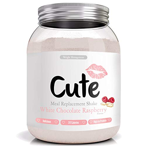 Cute Nutrition White Chocolate Raspberry Meal Replacement Shake for Weight Loss Control Diet Shake for Women 500g with Bonus 4 Week Fat Buster Workout Plan